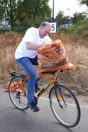 Fahrradkurier für Müll