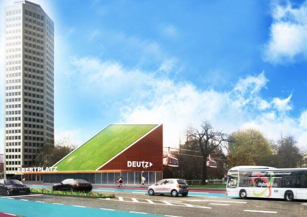 Seilbahnstation Ebertplatz, grün und platzsparend, Bild/grafische Bearbeitung: Mehdi Yassery