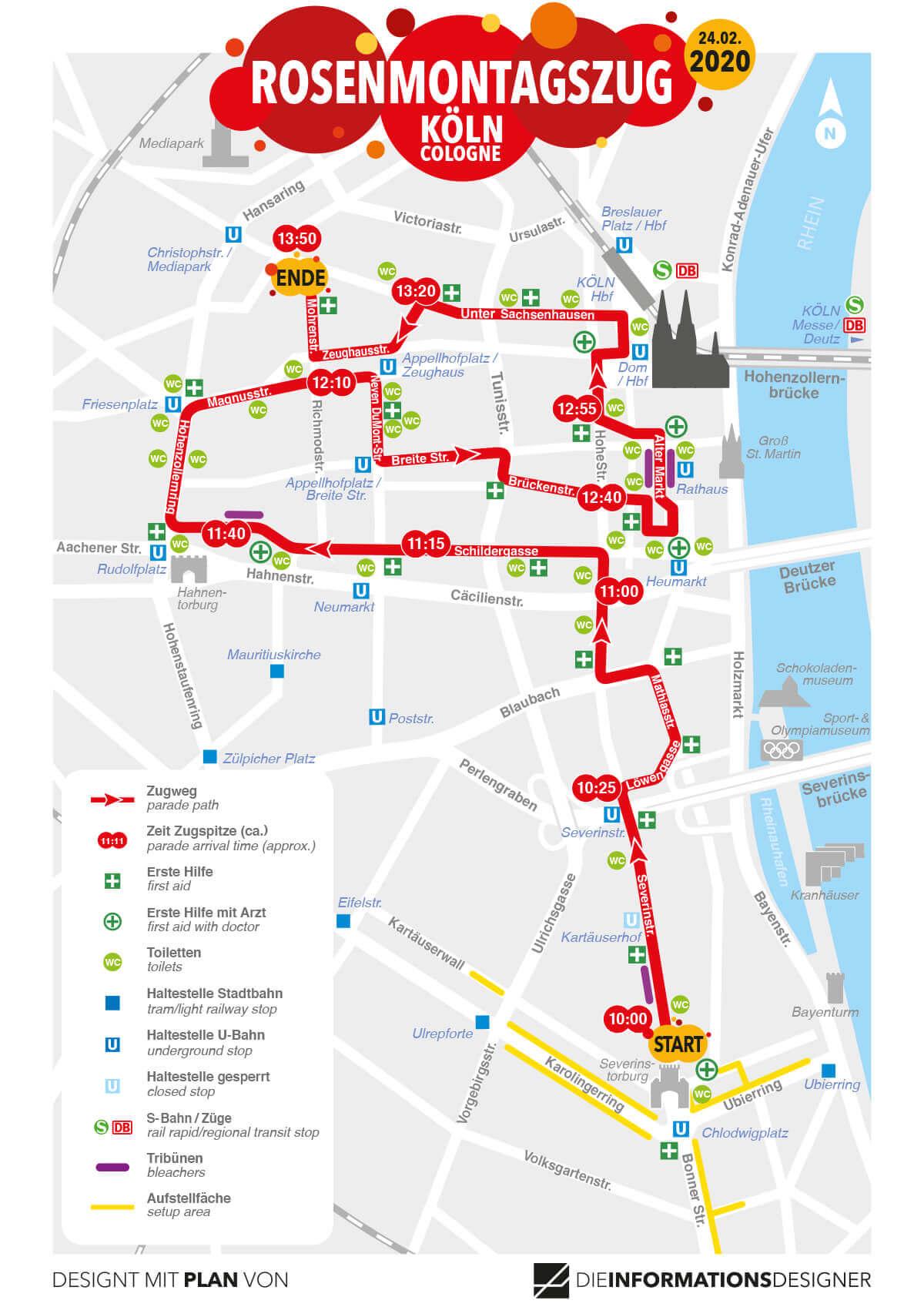 Route Rosenmontagszug Köln